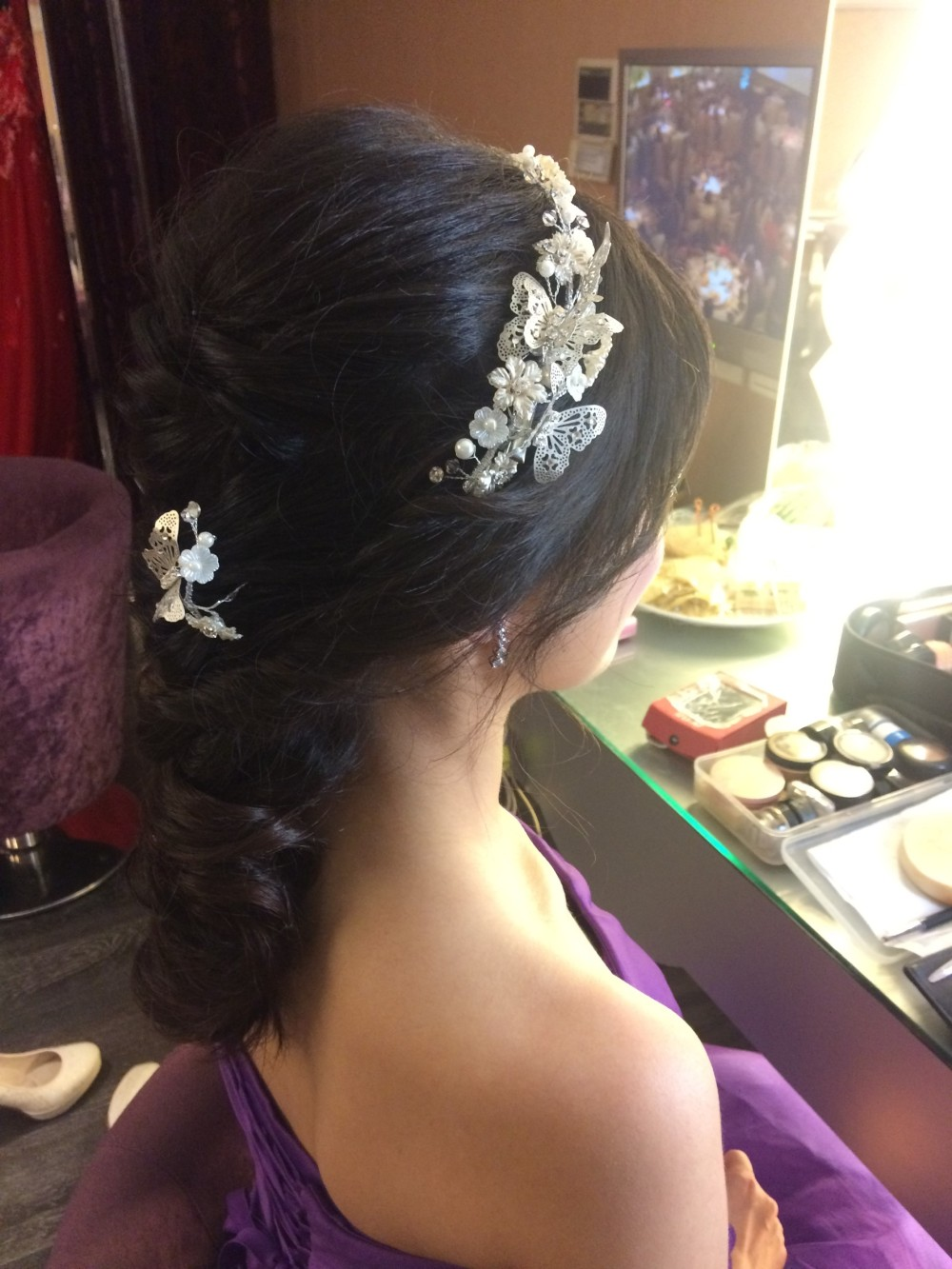 甜美妝髮|新娘風格|紫色禮服=新秘ADi