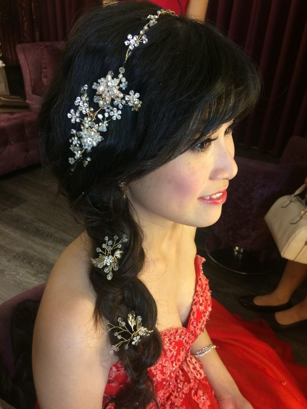 側編髮新娘造型|水晶頭飾|宴客妝髮-台北新秘ADi
