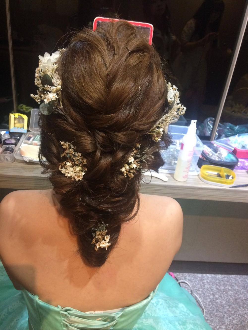法式浪漫低髮髻|乾燥花|新娘妝髮—新秘ADi
