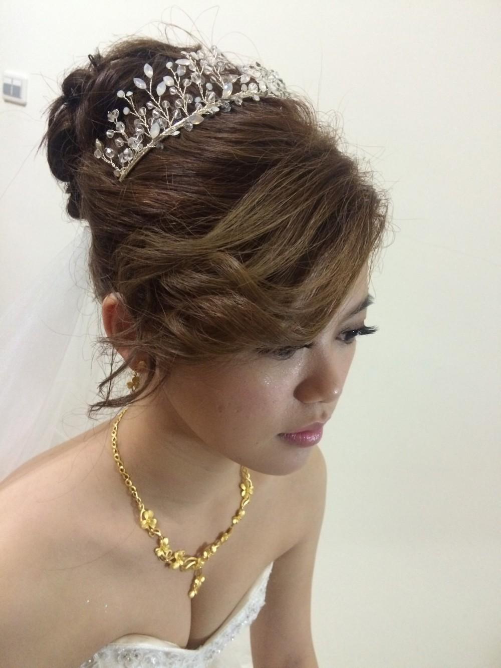 水晶頭飾|高盤髮頭紗|新娘迎娶造型-新秘ADi