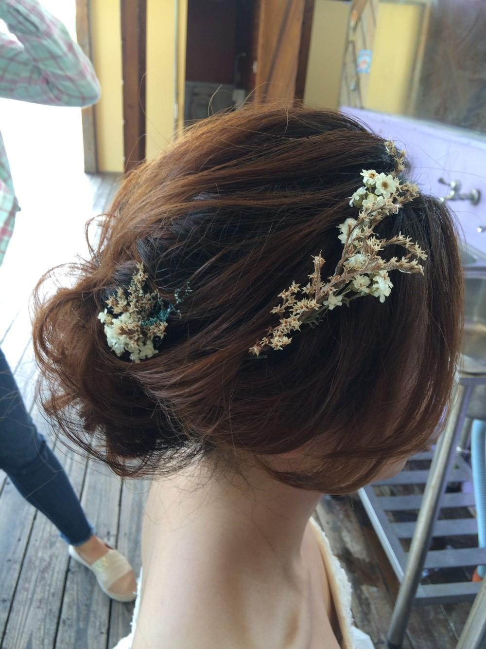 乾燥花低盤髮|白紗造型|新娘妝髮-台北新秘ADi
