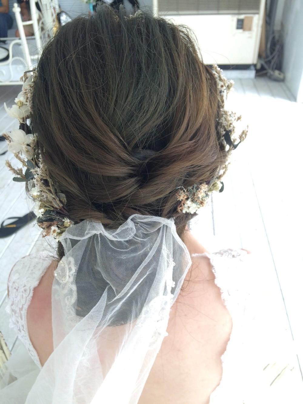 白紗髮型|乾燥花圈|低盤髮—台北新秘ADi