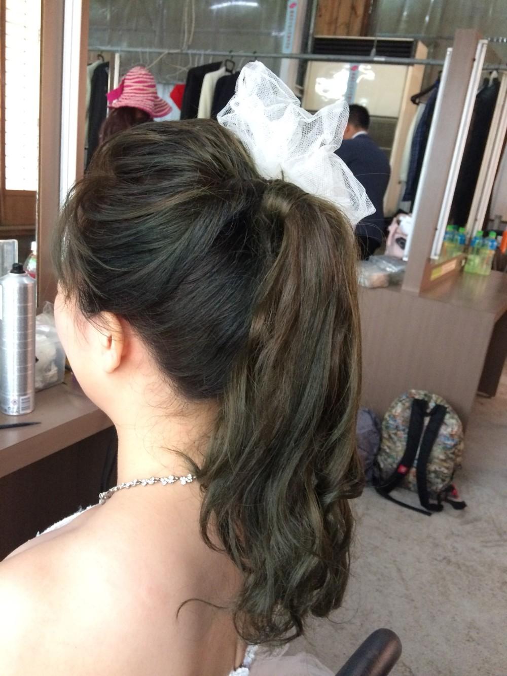 俏麗馬尾|白紗頭飾|新娘造型-台北新秘ADi