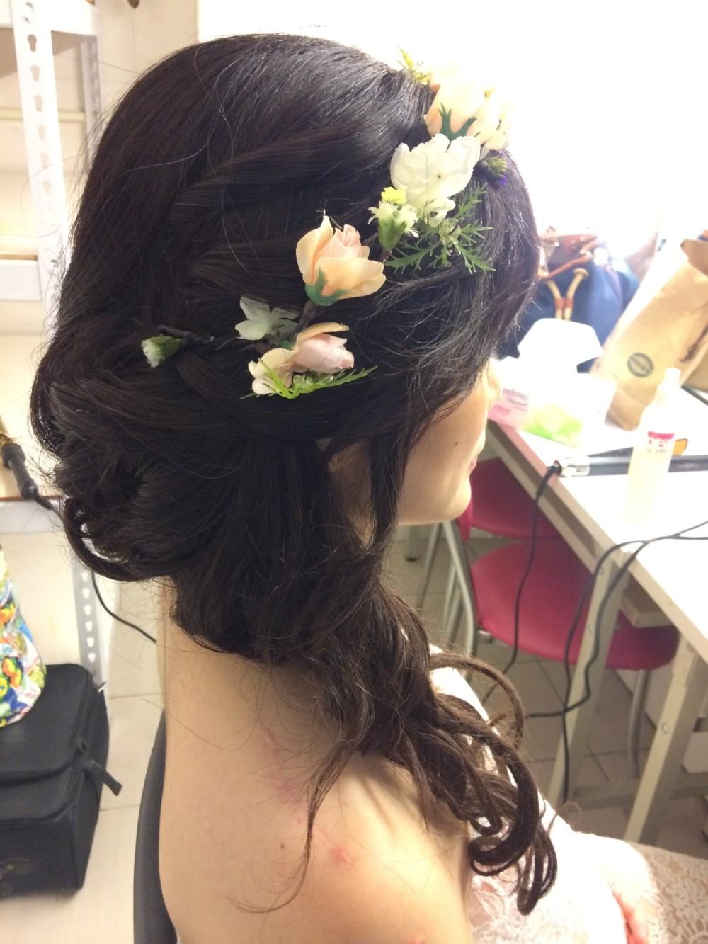 孕婦寫真造型|花圈頭飾|浪漫捲髮-新秘ADi